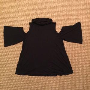 Ella Moss Tops - Ella Moss Cold-Shoulder Cowl-Neck Top Black Medium
